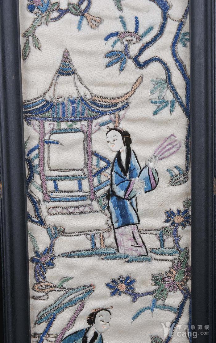 欧美回流 老精细打籽人物纹刺绣一对 带框图7