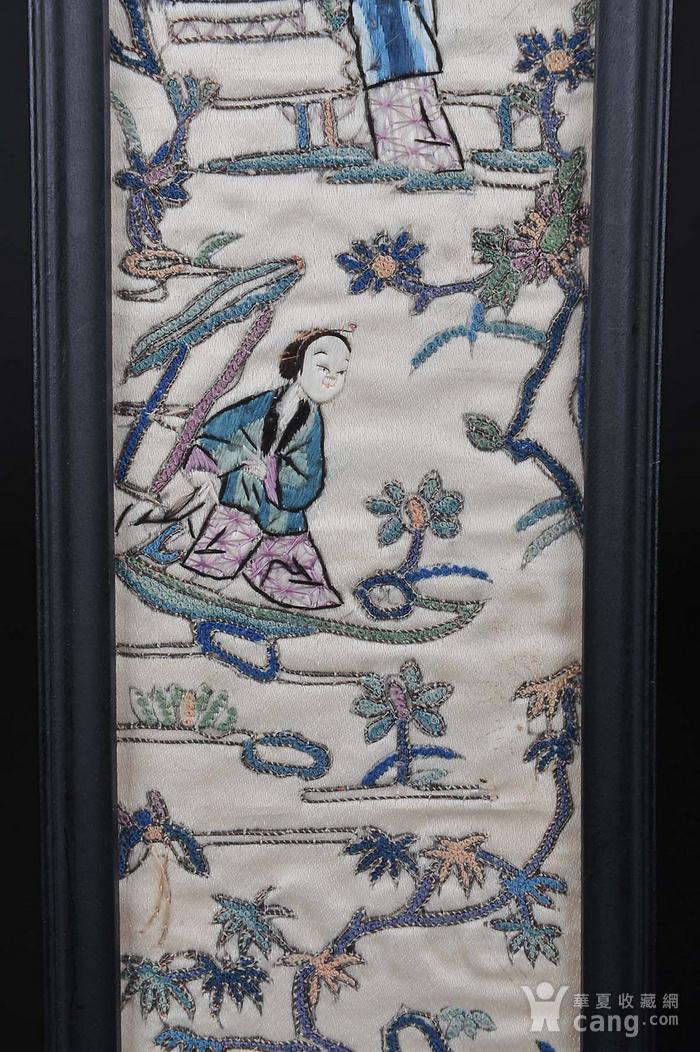 欧美回流 老精细打籽人物纹刺绣一对 带框图8