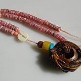 金牌 大几十年的老花梨如意龙坠子带配红纹石项链