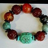金牌 精美出口创汇早期的红玛瑙寿纹松石原矿大珠手训