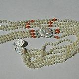 金牌 出口创汇时期粉珊瑚,碧玉老细螺三股项链耳坠套装