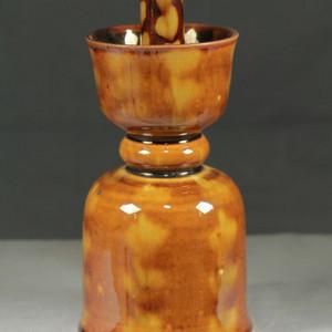 清代玳瑁釉灯盏