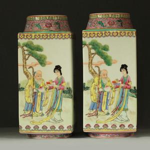粉彩寿星纹方瓶一对