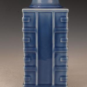 欧洲回季蓝八卦四方瓶