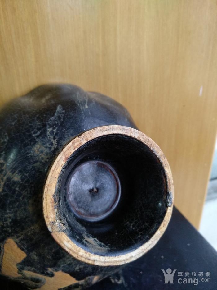 元黑釉小高足荷叶碗 。口径14.2,高8Cm图5