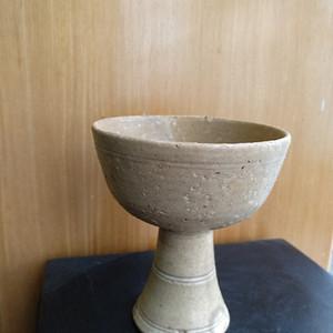 元 明青黄釉高足杯,高10.3Cm,口径9Cm。