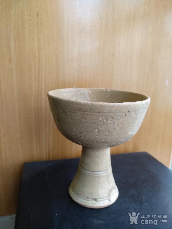元 明青黄釉高足杯,高10.3Cm,口径9Cm。图1