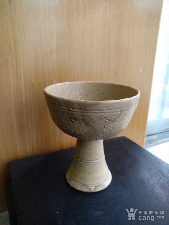 元 明青黄釉高足杯,高10.3Cm,口径9Cm。图2