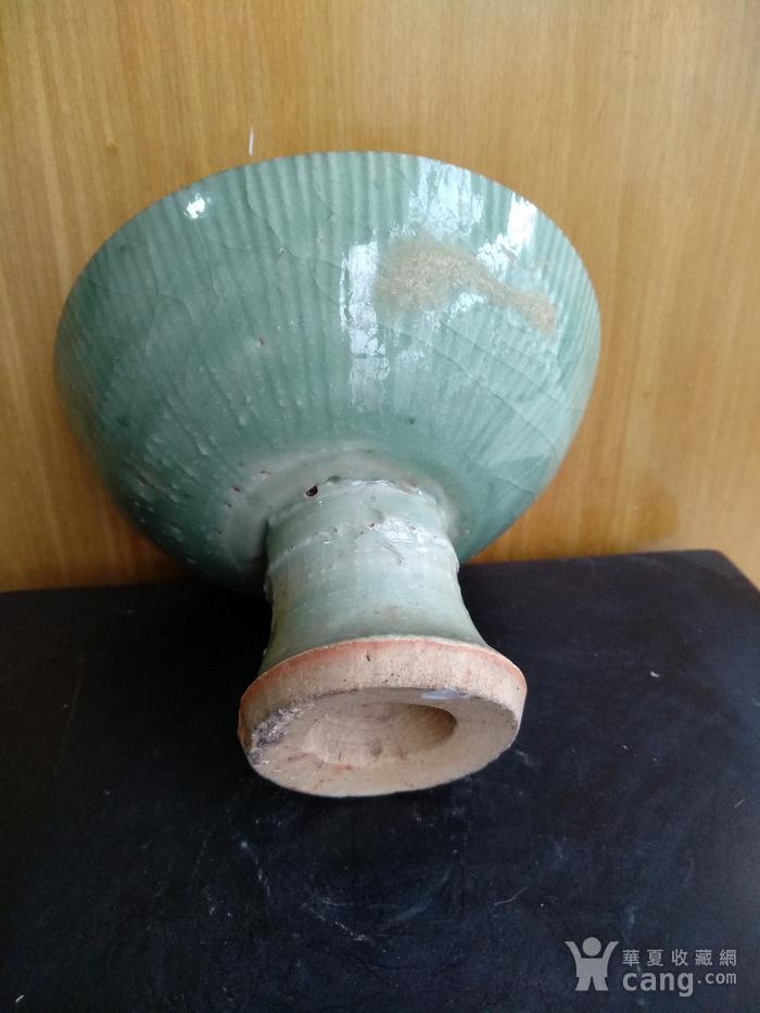 元龙泉梅子青釉高足杯 锯口 ,高7.5Cm,口径11Cm。图5