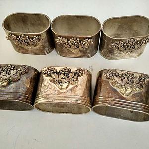 欧洲老镀银雕花餐巾筒6只 24