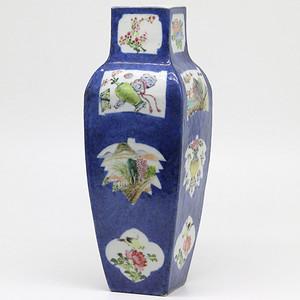清晚期  洒蓝开光浅绛彩花鸟纹方瓶