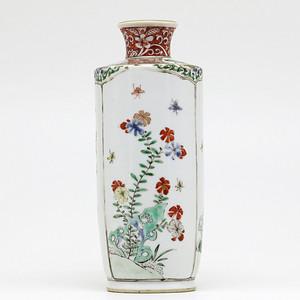 清康熙 五彩花卉纹棒小槌瓶