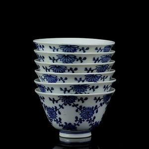 5明冶时期日式青花茶碗六只