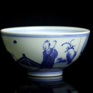 12清康熙青花人物纹杯