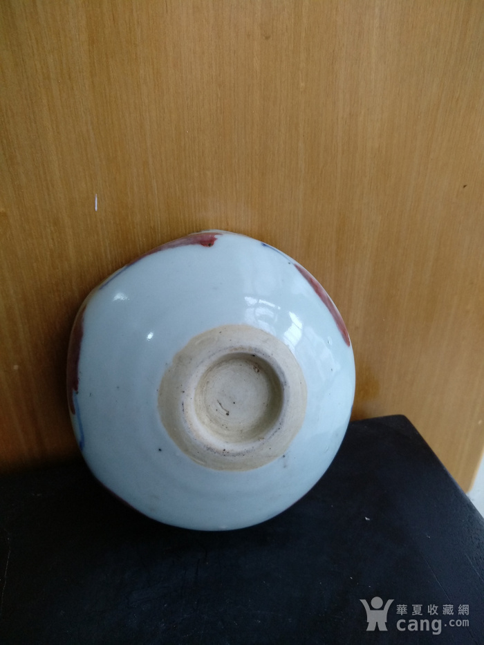 民国,青花釉里红花口水洗,口径9.8Cm,高:4Cm文房佳器。图5