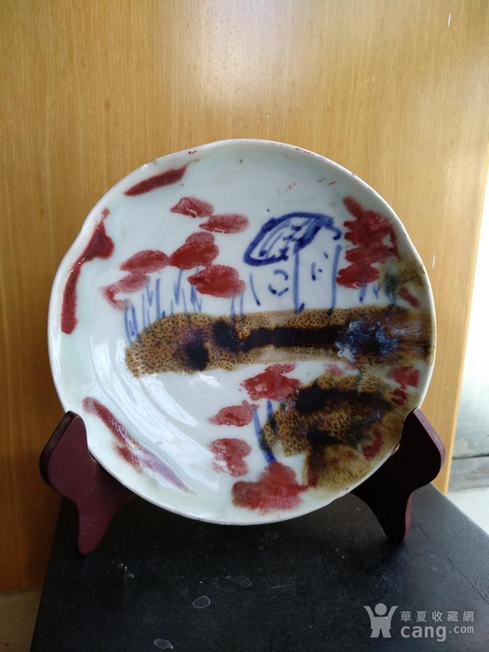 民国,青花釉里红画盘,径15.7Cm文房佳器。图3