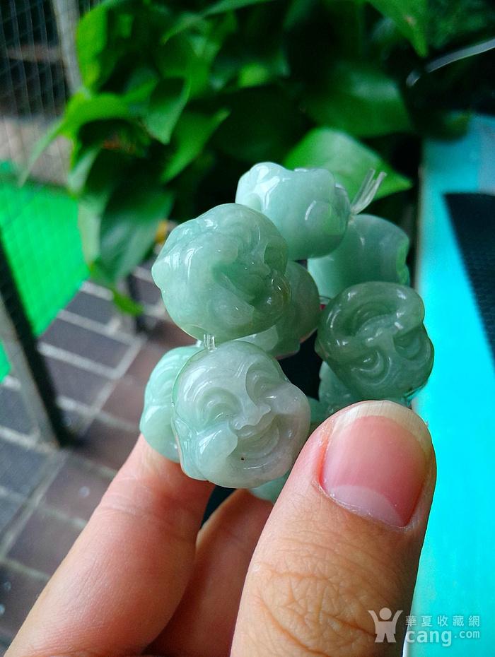 冰润满绿精雕十八罗汉手链图6