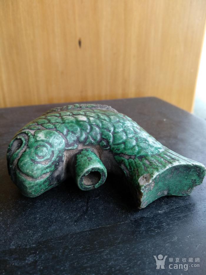 清,绿釉鱼型水滴,宽:7.5高:5Cm。文房佳器。图3