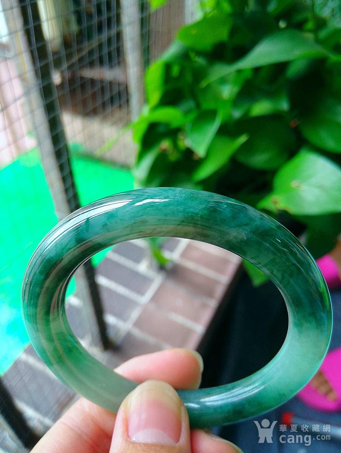 冰润飘辣绿圆条手镯图1