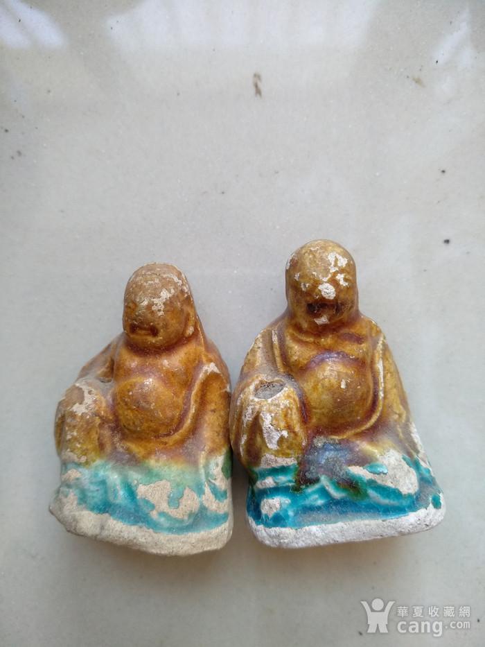 宋 元,彩釉罗汉座像,高3.7   3.3Cm图1