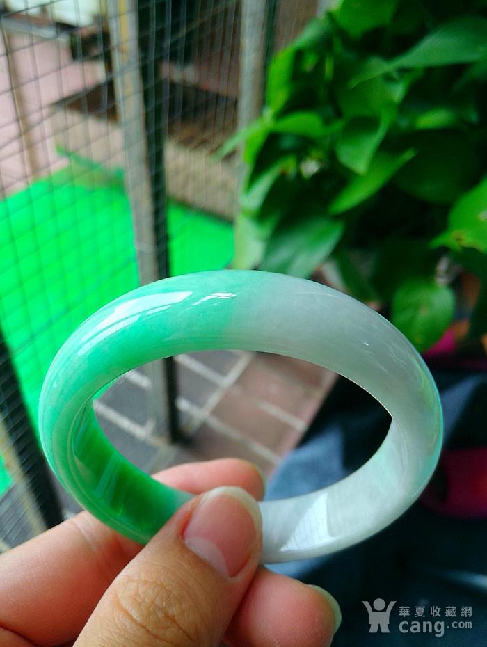 冰润带阳绿宽边手镯图3
