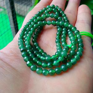 冰润辣绿圆珠项链