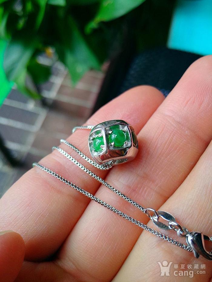 925银冰润满绿转运珠吊坠图3