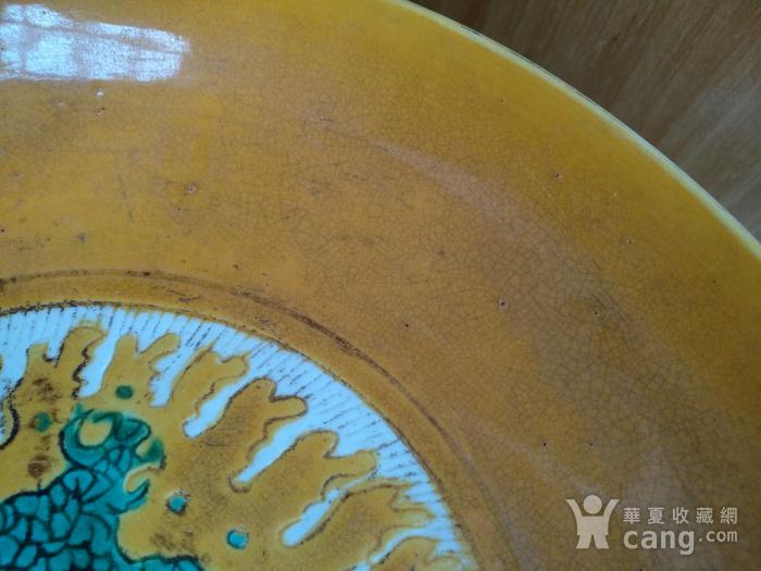 欧州回流。大明嘉靖款,鸡油黄地红绿彩龙盘。径:17.8Cm。图10