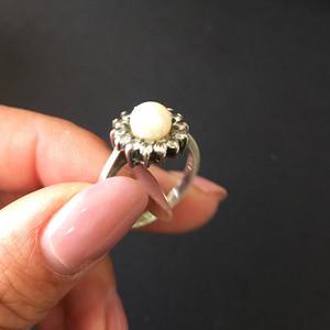 8039欧洲回流银嵌珍珠戒指