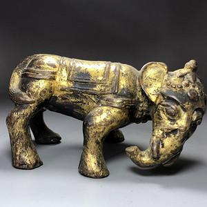 精品 清代铜鎏金大象摆件