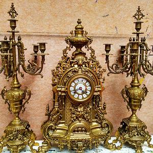 十九世纪铜制座钟及烛台一对 欧洲直邮