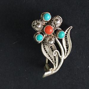 8013欧洲回流银花丝镶嵌绿松珊瑚胸针