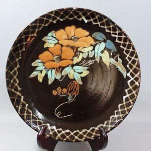 民国紫砂挂釉加彩花卉绘画盘
