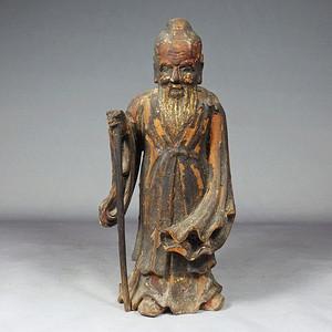 清早期樟木鎏金寿星木雕