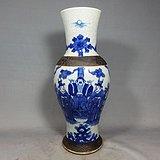 清代哥釉青花人物绘画观音瓶