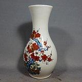 明治时期粉彩梅花绘画赏瓶