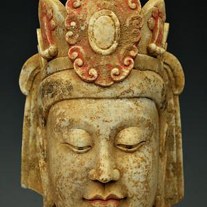 欧美回流   北魏时期汉白玉石雕刻佛头像