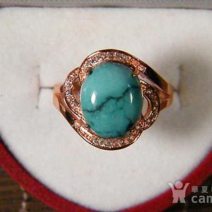 天然原矿绿松石925彩银戒指
