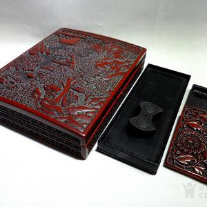 清代大漆精雕山水风景人物纹老砚台盒五件套! 文房精品