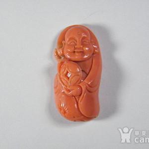 回流珍藏.天然红珊瑚雕招财童子佛