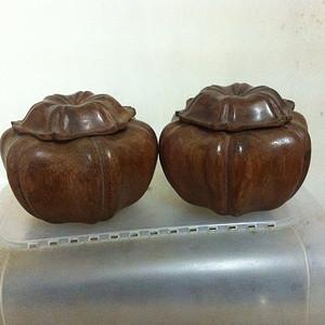 一对草花梨围棋罐