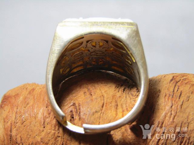 有年份 白秋厥 瑞兽戒面配银拖戒指图5