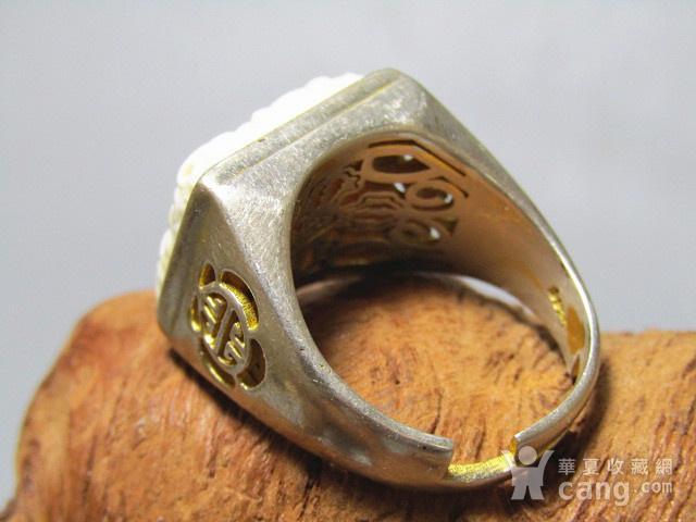 有年份 白秋厥 瑞兽戒面配银拖戒指图11