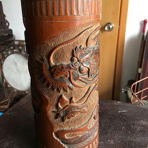 竹雕过墙龙香筒