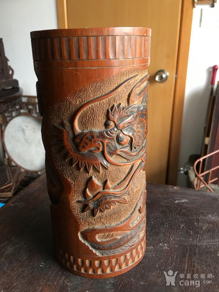 竹雕过墙龙香筒图1