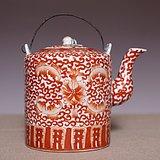 藏海淘 大清同治年制釉里红花卉纹提梁壶 JZ003