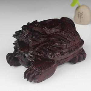联盟 印度小叶紫檀鸡血红顺纹无棕眼纯手工雕刻龙龟轻刀款