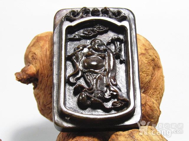 亚洲黑干料 弥勒佛 牌 特征明显 手工雕刻图1