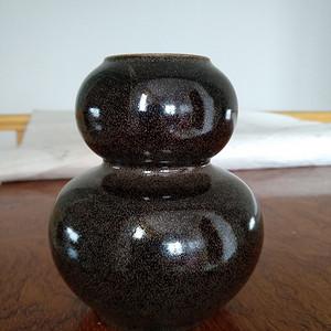 欧州回流。茶叶沫釉葫芦瓶,瓶,高:12,5Cm。