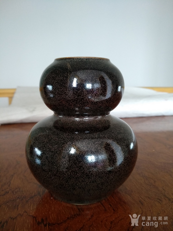 欧州回流。茶叶沫釉葫芦瓶,瓶,高:12,5Cm。图1